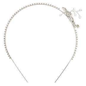 Silver Embellished Flower Headband,