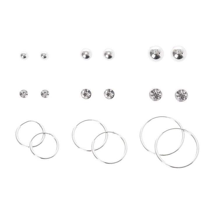 Silver Graduated Hoop & Stud Earring Set,