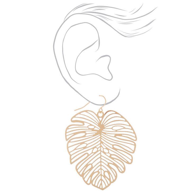 """Gold 1.5"""" Palm Leaf Drop Earrings,"""