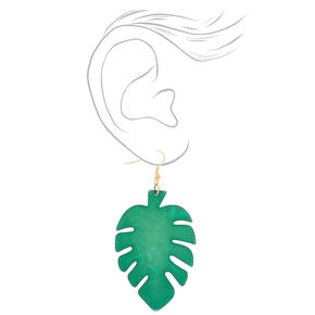 "Gold 3"" Palm Leaf Drop Earrings - Green,"