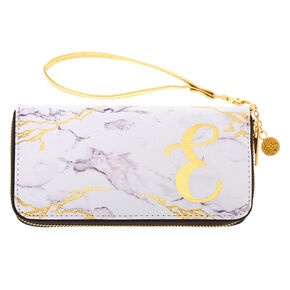 Marble Initial Wristlet - E,