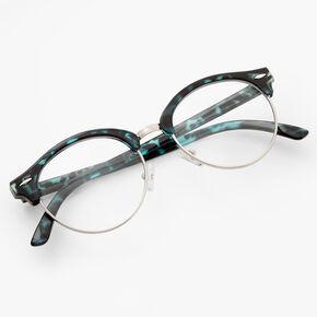 Tortoiseshell Browline Clear Lens Frames - Blue,