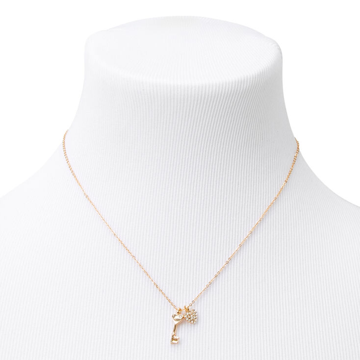 Gold Key to My Heart Pendant Necklace,
