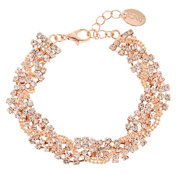 Rose Gold Rhinestone Braided Chain Bracelet,