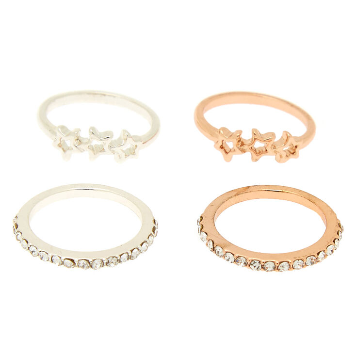 Mixed Metal Constellation Midi Rings - 4 Pack,