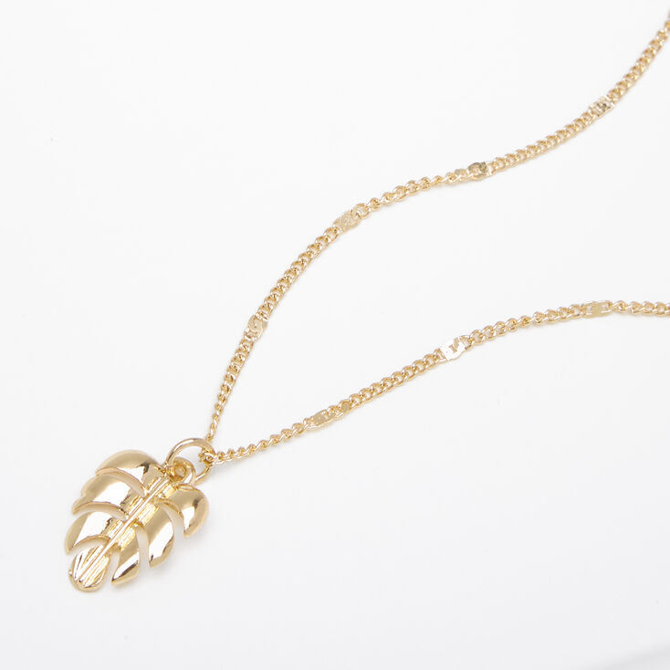 Gold Palm Leaf Pendant Necklace,