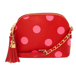 Polka Dot Crossbody Bag - Red,