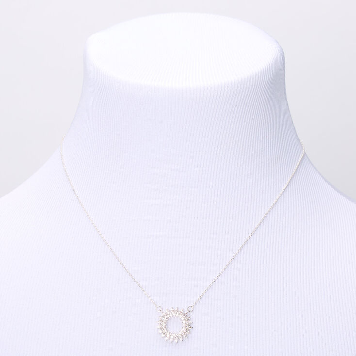 Silver Cubic Zirconia Sun Burst Pendant Necklace,