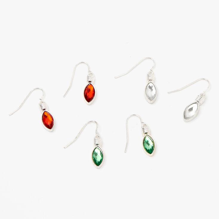 """Silver 1"""" Holiday Teardrop Stone Drop Earrings,"""