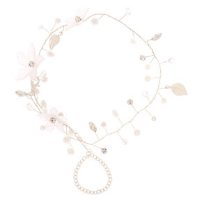 Silver Frosted Flower Hand Chain - White,