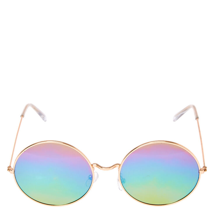 Round Rose Gold Toned Rainbow Sunglasses,
