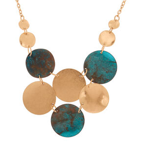 Gold Patina Disk Statement Necklace,