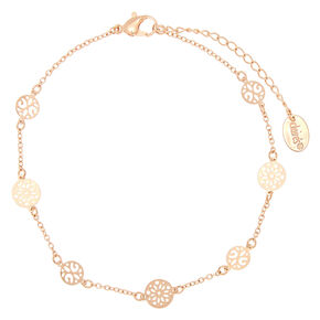 Gold Circle Filigree Anklet,