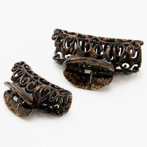 Filigree Oil Slick Hair Claws - Brown, 2 Pack,
