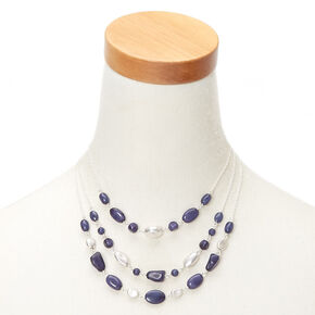 Silver Stone Bead Multi Strand Necklace - Blue,