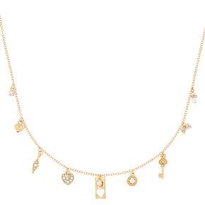 Gold Romantic Charm Pendant Necklace,