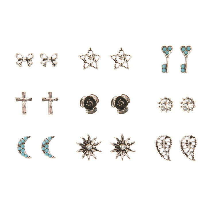Turquoise & Antique Silver Festival Earring Set,