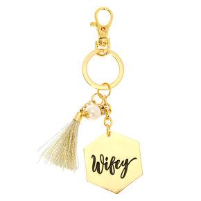 Gold-Tone Wifey Charm Keychain,