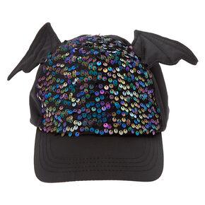 Bat Wings Sequin Baseball Cap - Black,