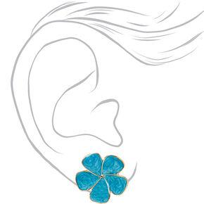 Gold Large Flower Stud Earrings - Blue,