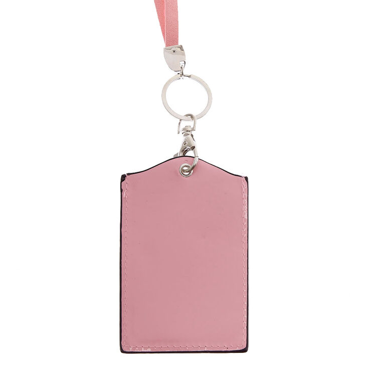 Pink Crystal Keyring ID Holder,
