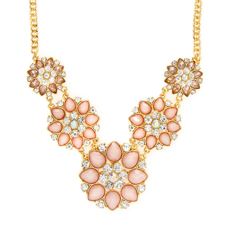 Juliet Pink Glitter Stone & Crystal Flowers Statement Necklace,