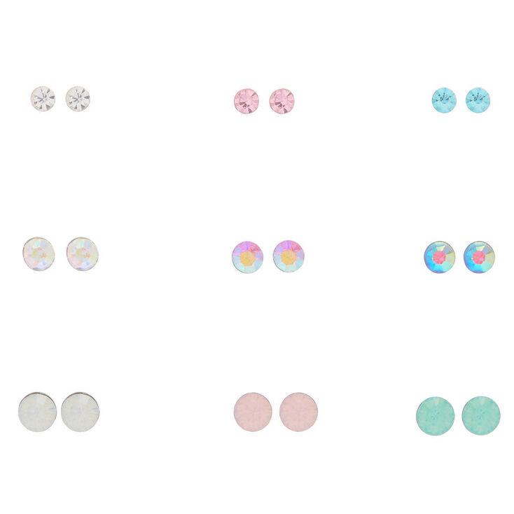 9 Pack Multi-Colored Crystal Stud Earrings,