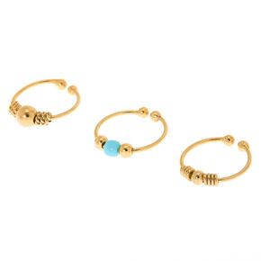 Gold Sterling Silver Stone Faux Cartilage Hoop Earrings - Turquoise, 3 Pack,