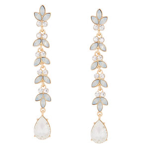 "Glass Rhinestone 3"" Leaf Drop Earrings - Opal,"