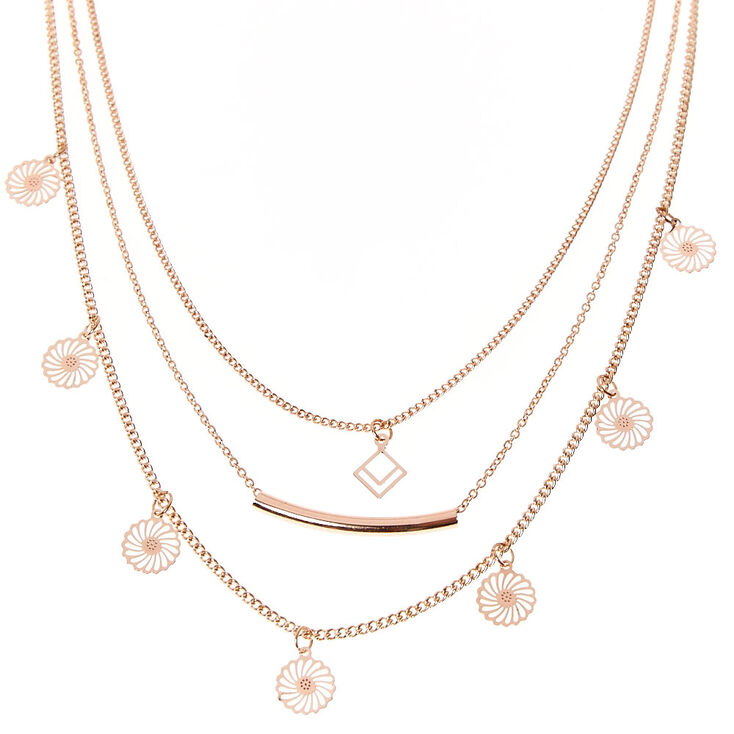 Multi Row Rose Gold Bar Necklace,
