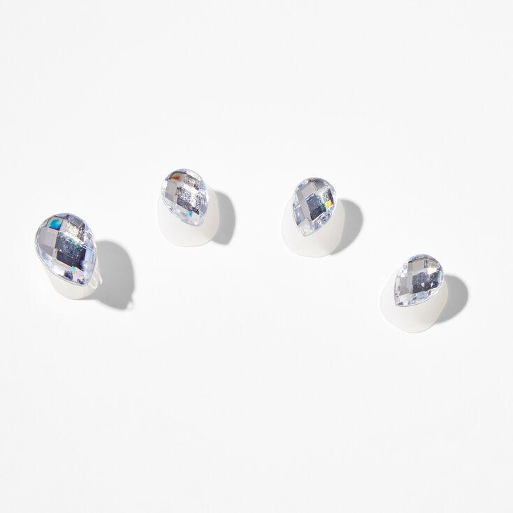 """Silver 2"""" Ho Ho Ho Glitter Drop Earrings - Red,"""