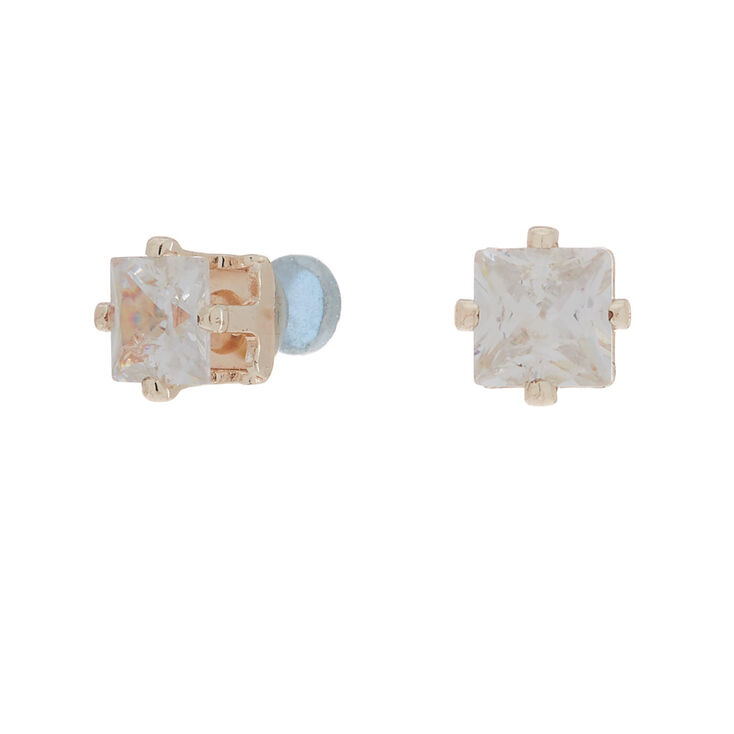 Rose Gold Cubic Zirconia 5MM Square Magnetic Stud Earrings,