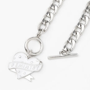 Silver Feminist Toggle Chain Link Bracelet,