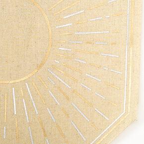 Metallic Sun Burst Burlap Banner - Tan,