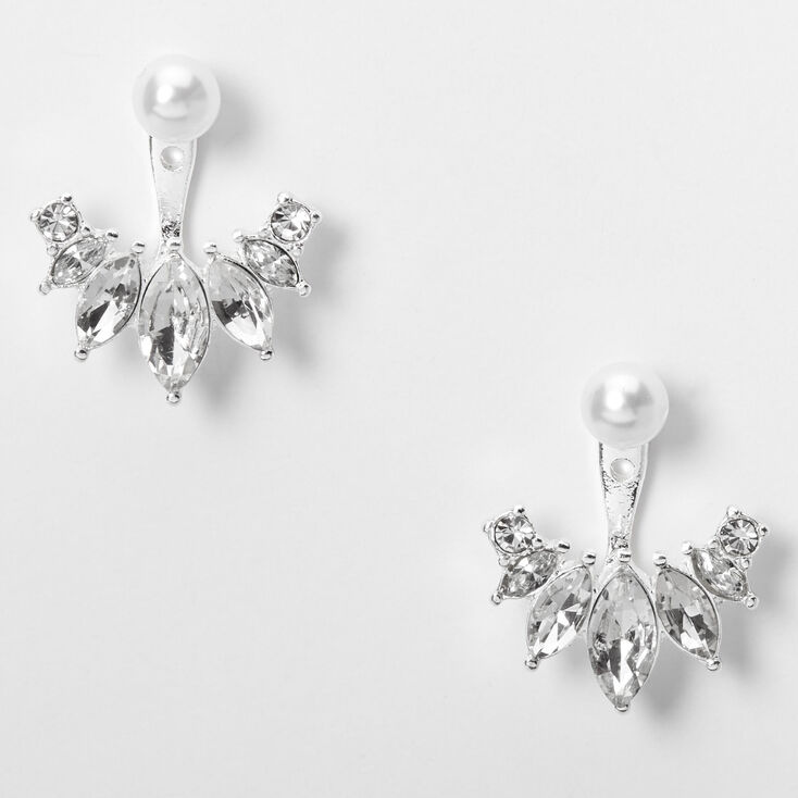 Silver Embellished Marquise Pearl Ear Jacket Earrings,