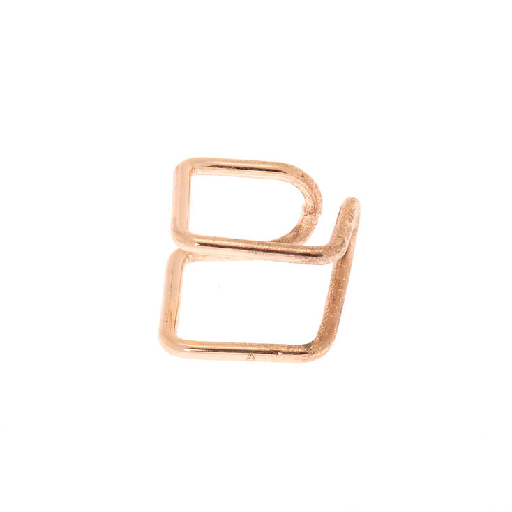 Rose Gold Double Band Square Ear Cuff,