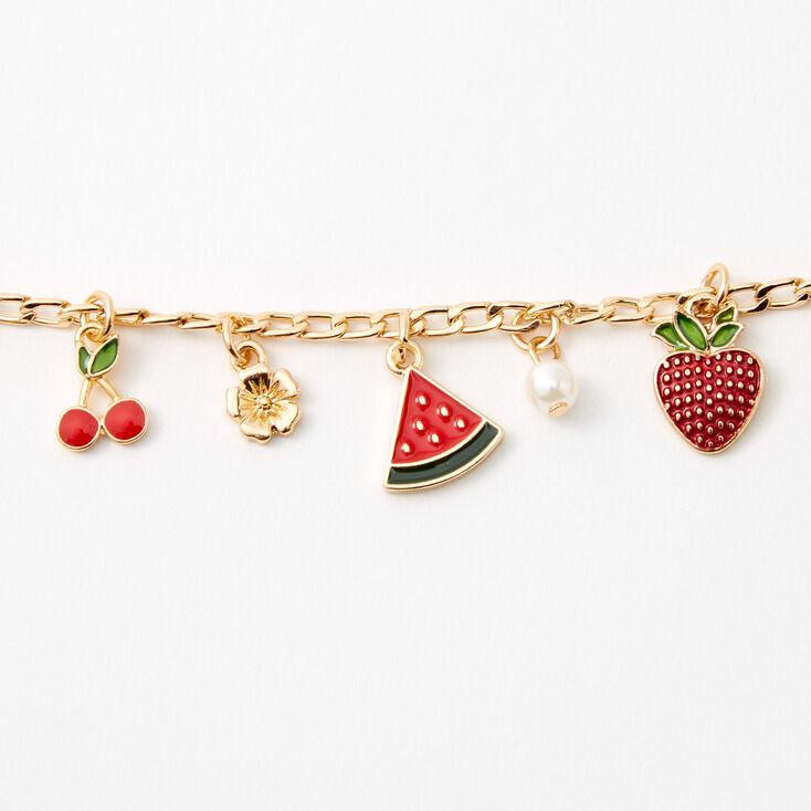 Gold Summertime Fruit Chain Link Charm Bracelet,