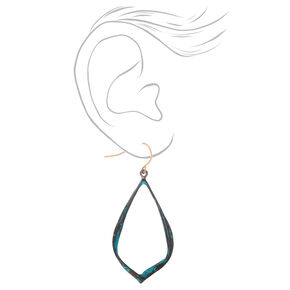 "Gold 2"" Ribbon Patina Drop Earrings - Turquoise,"
