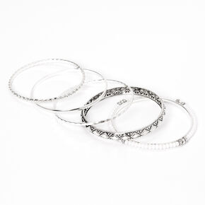 Silver Festival Beaded Bangle Bracelets - 5 Pack,