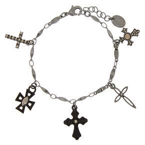 Hematite Cross Charm Bracelet,