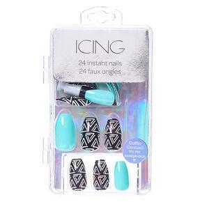Mint & Aztec Print Coffin Instant Nails,
