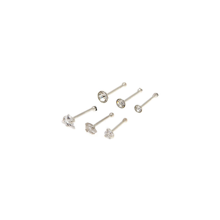 Sterling Silver Mixed Cubic Zirconia Nose Studs - 6 Pack,
