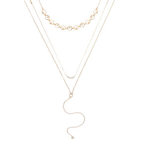 Gold Glass Pearl Necklace Set,