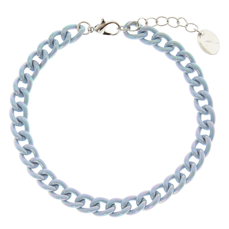 Baby Blue Metallic Chain Anklet,