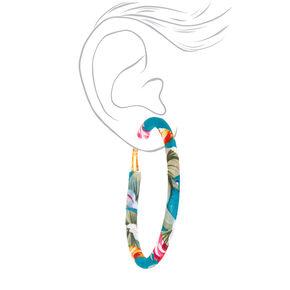 50MM Fabric Wrapped Floral Hoop Earrings - Teal,