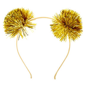 Tinsel Pom Pom Ears Headband - Gold,