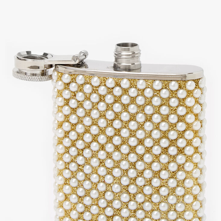 Embellished Pearl Flask - Silver,