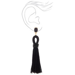 "4"" Looped Tassel Drop Earrings - Black,"