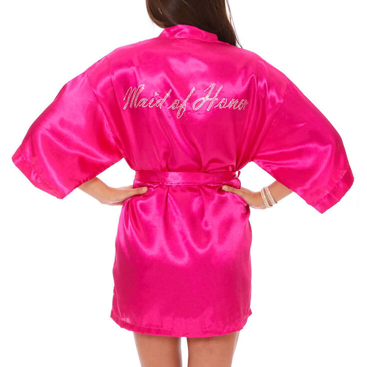 Hot Pink Satin & Crystal Maid of Honor Robe - M/L,