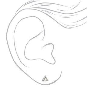 Sterling Silver Crystal Triangle Stud Earrings,